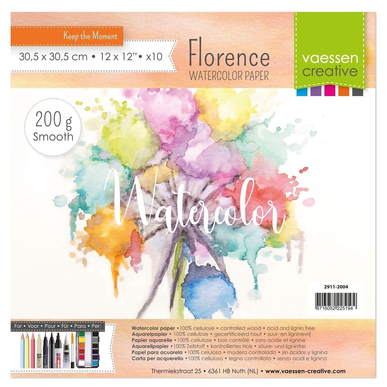 Papiers aquarelle - 30x30 - 200gr - Florence - Vaessen Creative