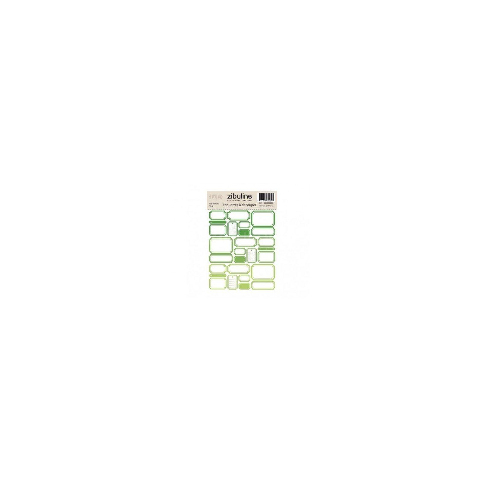 Planche d'étiquettes à découper - Les écoliers - Vert - Zibuline