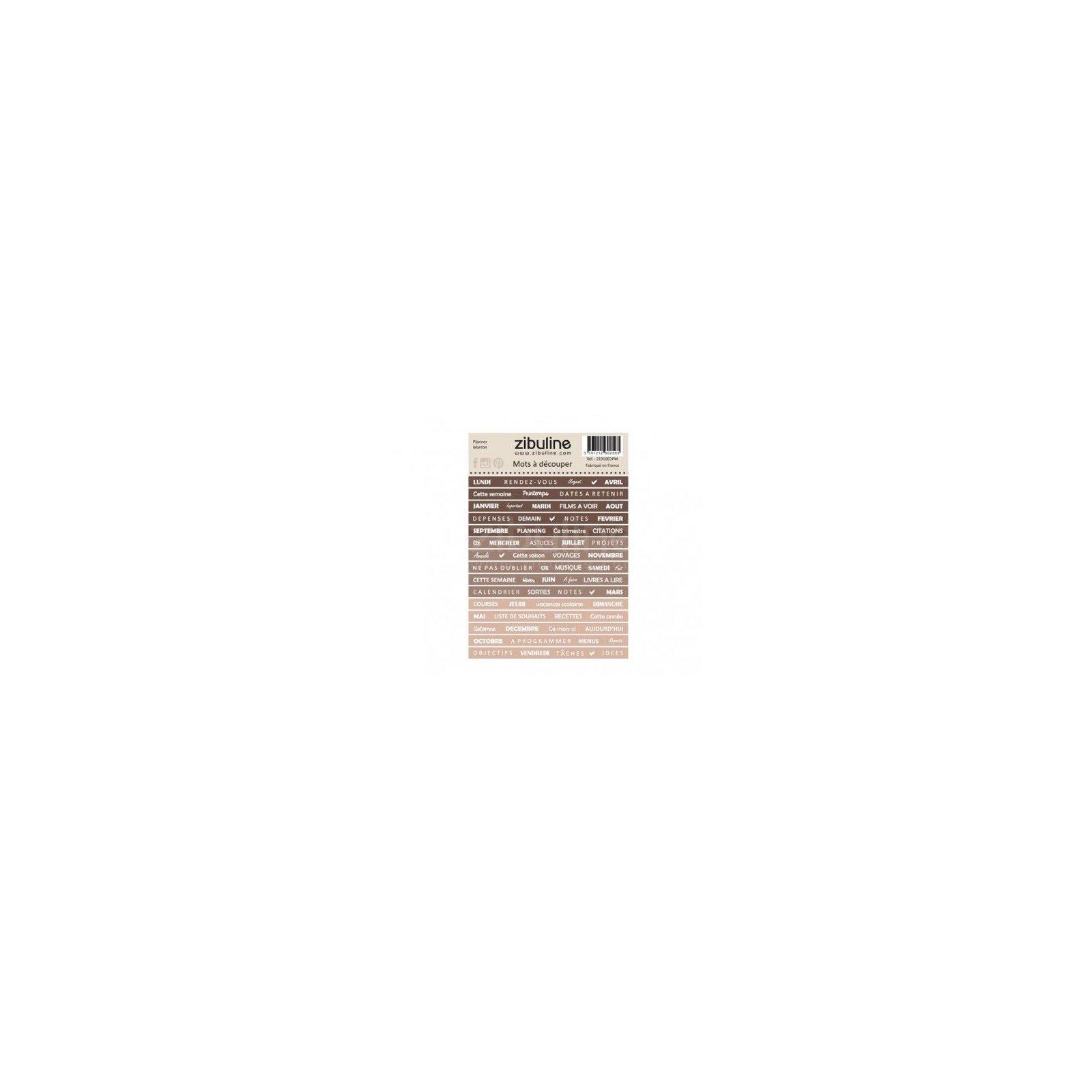 Planche de mots à découper - Planner - Marron - Zibuline