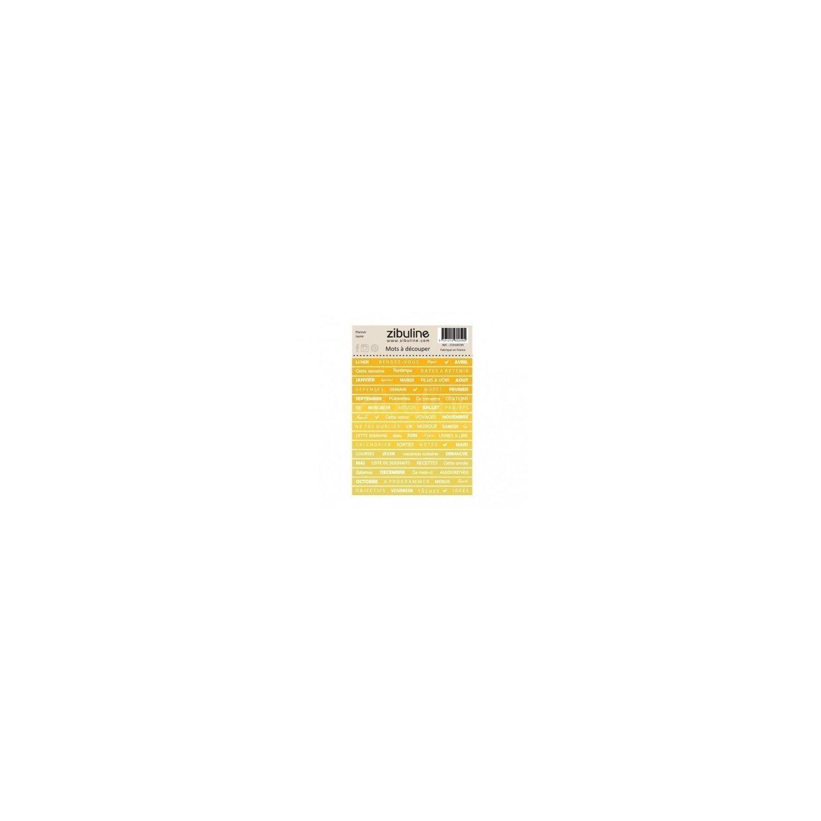 Planche de mots à découper - Planner - Jaune - Zibuline