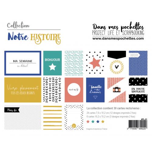 Assortiment de cartes Project Life - Notre histoire - Dans mes pochettes