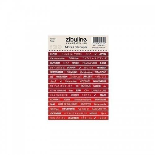 Planche de mots à découper - Planner - Rouge - Zibuline
