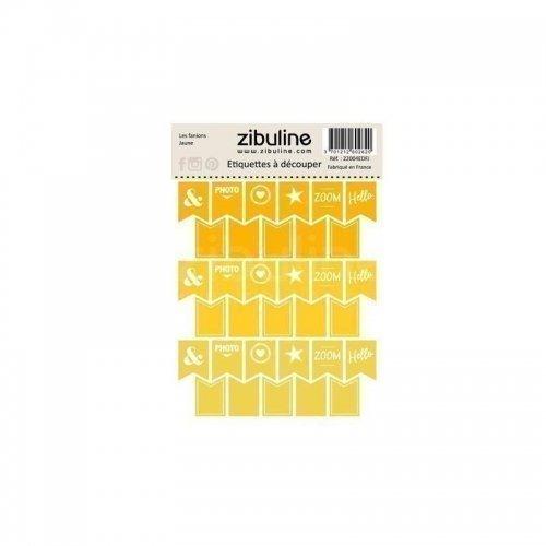 Planche d'étiquettes à découper - Les fanions - Jaune - Zibuline
