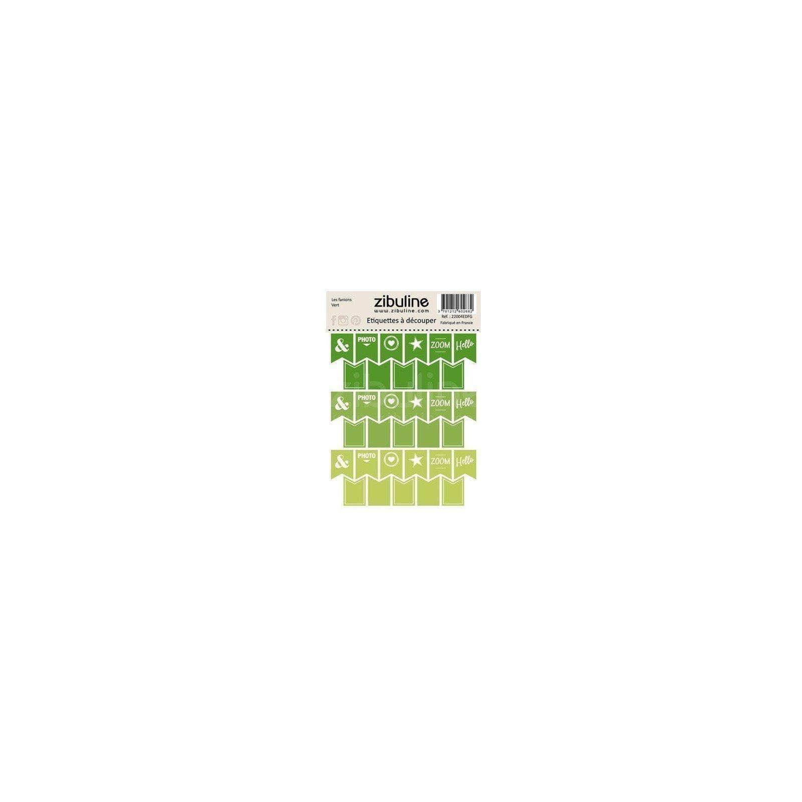 Planche d'étiquettes à découper - Les fanions - Vert - Zibuline