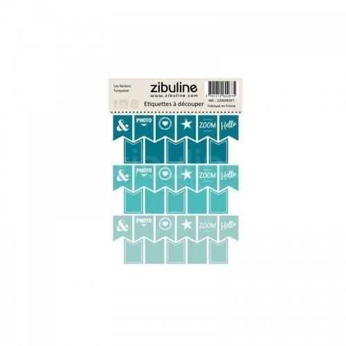 Planche d'étiquettes à découper - Les fanions - Turquoise - Zibuline