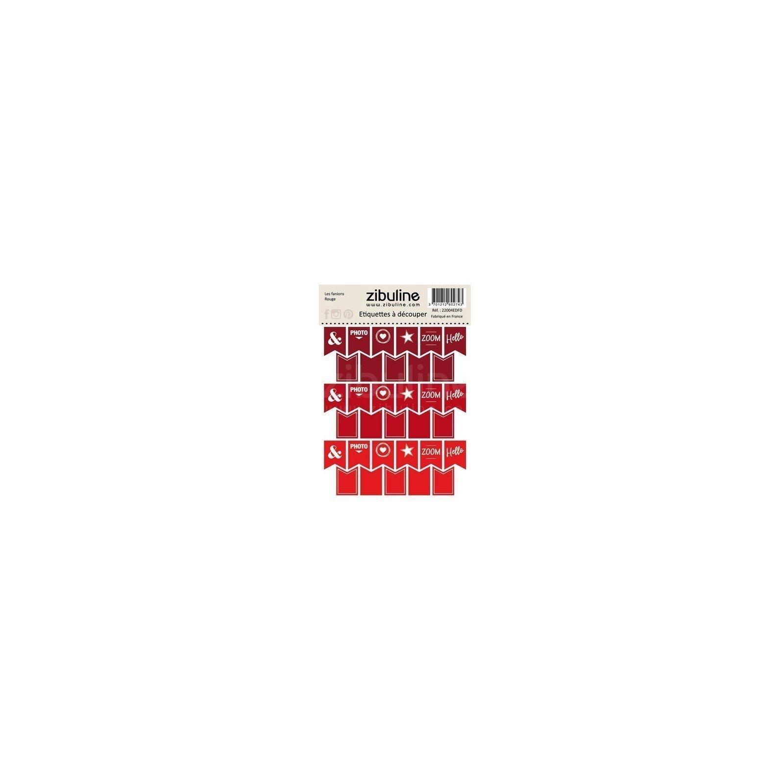 Planche d'étiquettes à découper - Les fanions - Rouge - Zibuline