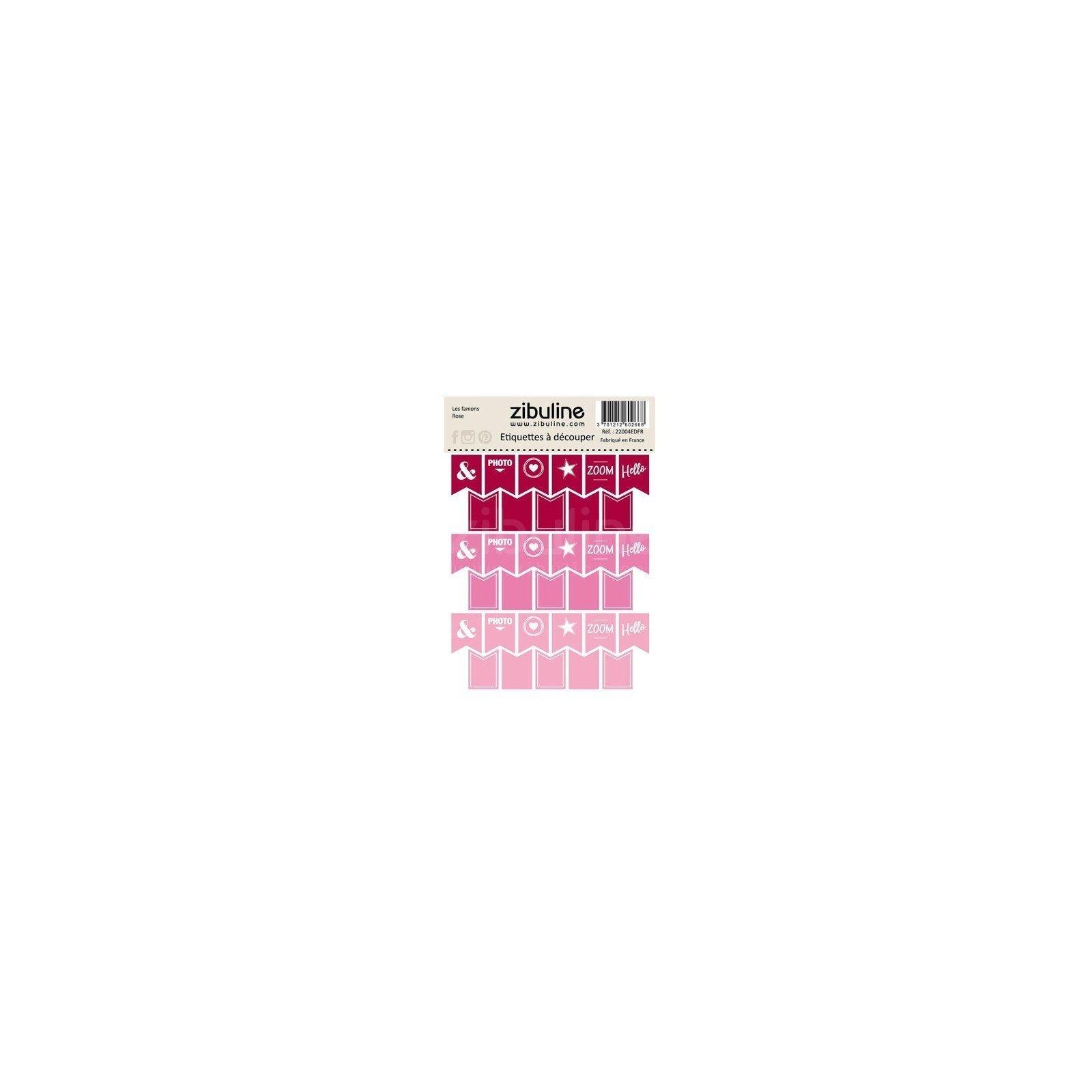 Planche d'étiquettes à découper - Les fanions - Rose - Zibuline