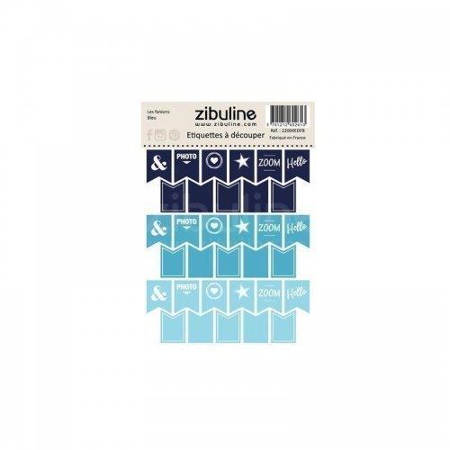 Planche d'étiquettes à découper - Les fanions - Bleu - Zibuline