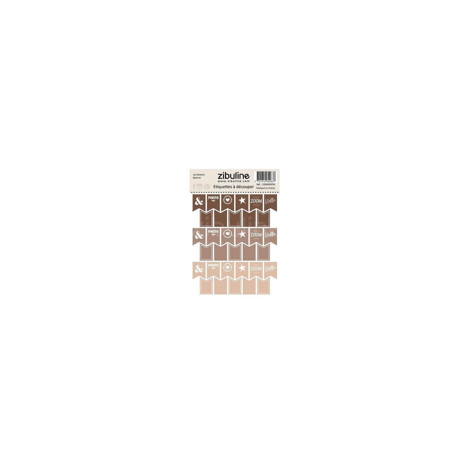 Planche d'étiquettes à découper - Les fanions - Marron - Zibuline