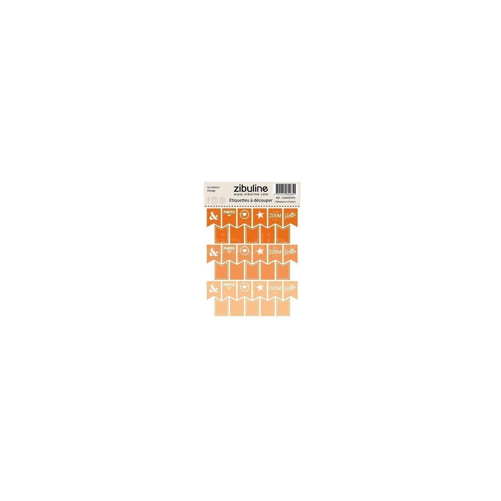 Planche d'étiquettes à découper - Les fanions - Orange - Zibuline