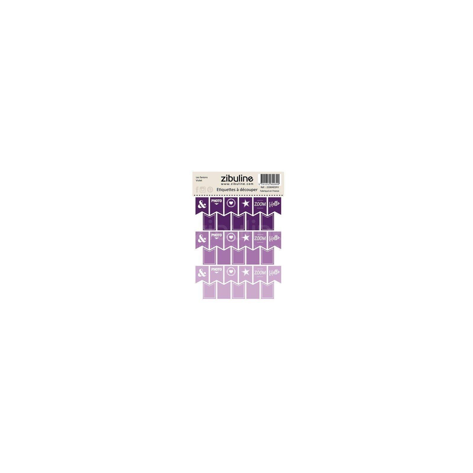 Planche d'étiquettes à découper - Les fanions - Violet - Zibuline