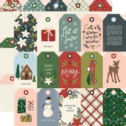 Papier 30x30 - Tags - Winter Cottage - Simple Stories