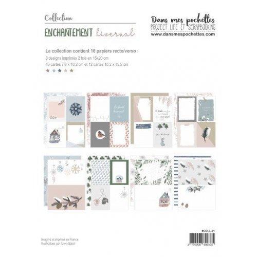 Collection de papiers 15x20 - Enchantement hivernal - Dans mes pochettes