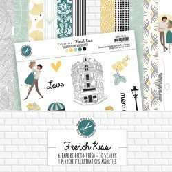 Collection de papiers et 1 planche d'illustrations - French Kiss - Mes p'tits ciseaux