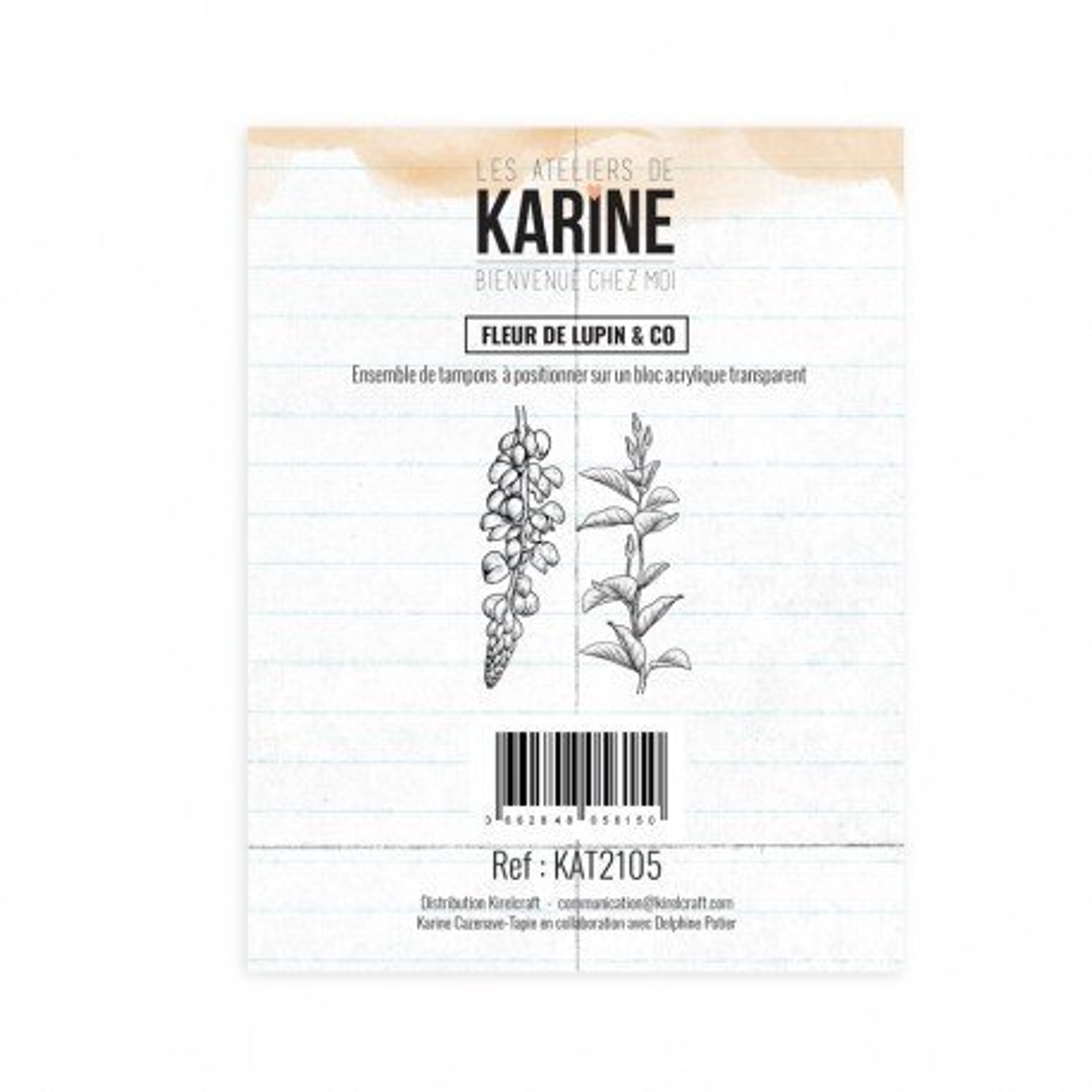 Tampon clear - Fleur de lupin & Co - Bienvenue chez moi - Les ateliers de Karine