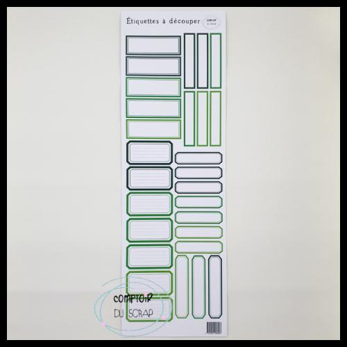 Planche d'étiquettes à découper - Vert - Comptoir du Scrap
