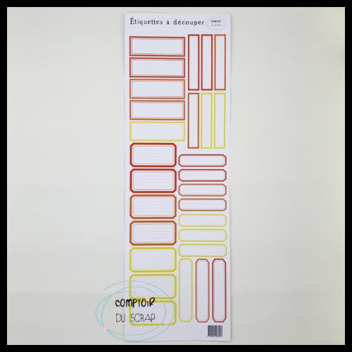 Planche d'étiquettes à découper - Rouge & jaune - Comptoir du Scrap