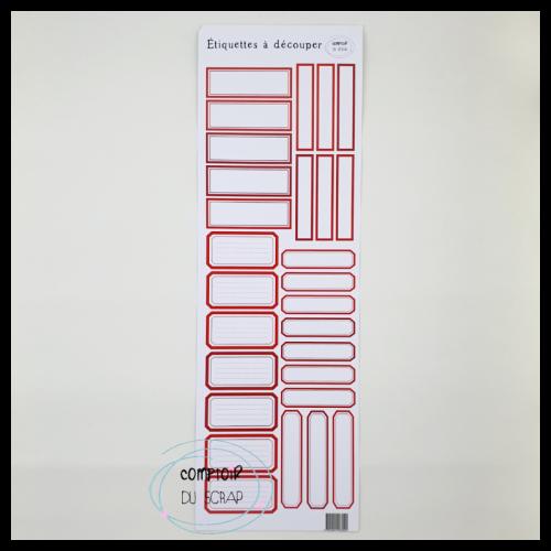 Planche d'étiquettes à découper - Rouge - Comptoir du Scrap