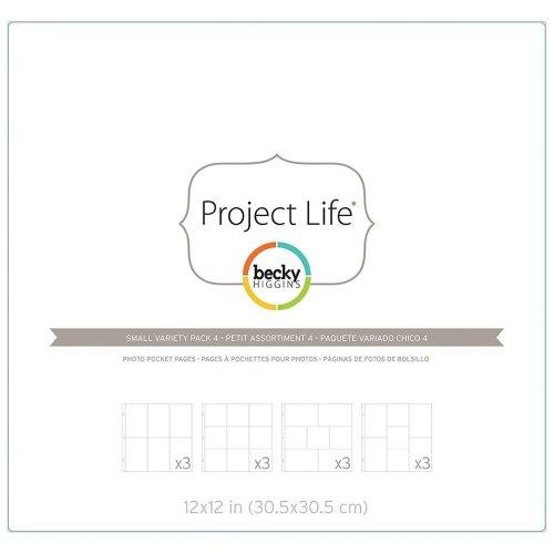 Assortiment de 12 pochettes plastiques 30x30 - 4 designs différents (L, P, Q, R) - Becky Higgins