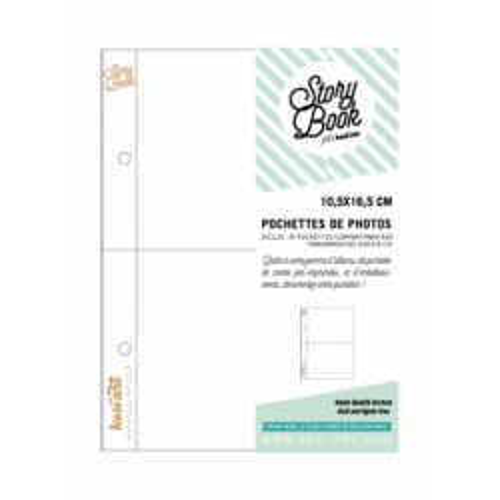 Pochettes Story Book 10x16 cm - 2 compartiments 10,5 x 8 - Kesi'art