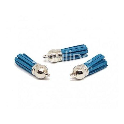 Pompon en suédine - Bleu pétrole - Zibuline