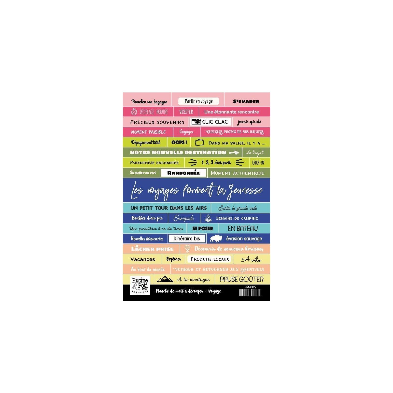 Planche de mots à découper - Voyage - Pucine & Poti