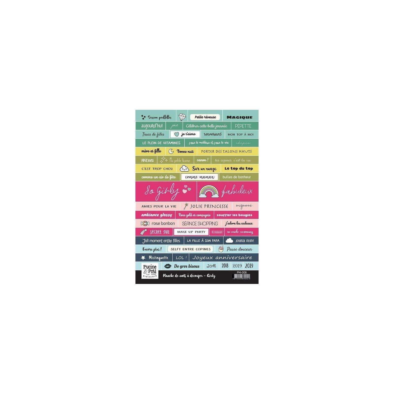 Planche de mots à découper - Girly - Pucine & Poti