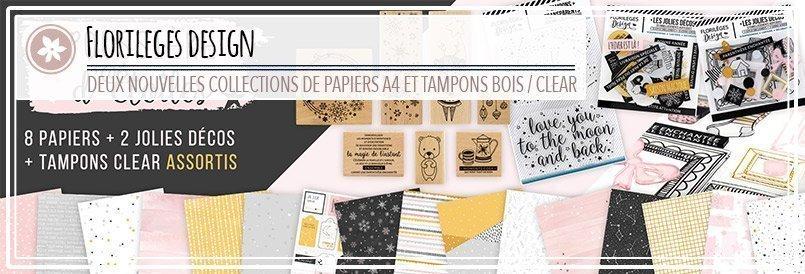 Nouveaux papiers et tampons bois par Florilèges Design